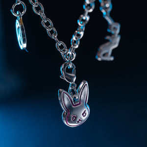 Overwatch D.Va Bracelet Bunny Charm OW Logo Detachable Pendents White Metal Fashion Cosplay Costume Accessories Jewelry for Women Girls