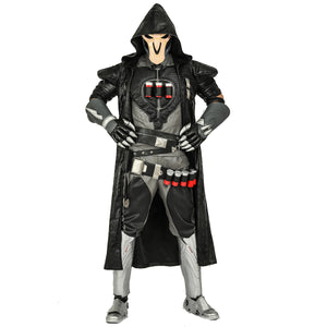 Overwatch Men's Reaper Jacket Robe - Halloween Cosplay Costume Coat Gabriel Reyes Game Anime Apparel with Rubber Spine