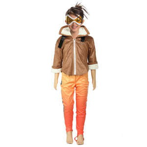 Overwatch Tracer Cosplay Kids Deluxe Costume Suit Jacket/Pants/Gloves for Girls/Boys