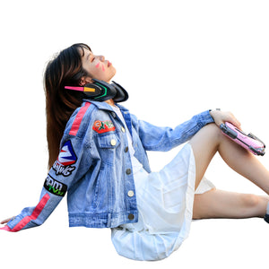 Overwatch D.Va Cosplay Jean Coat Costume Girls Fashion Durable Denim Jacket One Size Blue