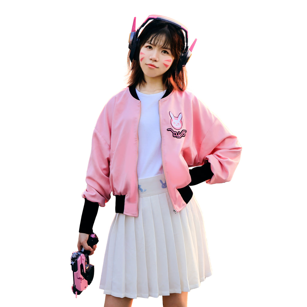 Overwatch D.Va Baseball Jacket Cute 3D Print Embroidered Letterman Costume Girls' Baseball Uniform Pink