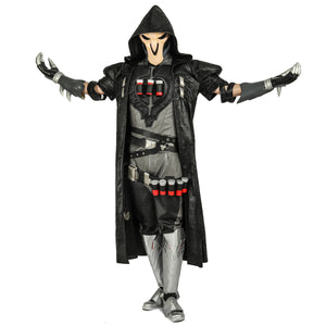 Overwatch Game Reaper Cosplay Costume PU Leather Outfits Full Set
