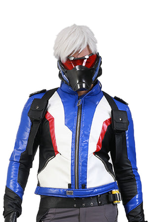 Overwatch Soldier 76 Cosplay Jacket Embroidered PU Leather Gaming Costume for Men/Teens