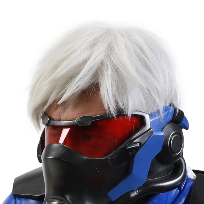 Halloween Costume Overwatch Soldier 76 Wig Cosplay White Short Layered Hair Free Wig Cap Adults Men/Teens