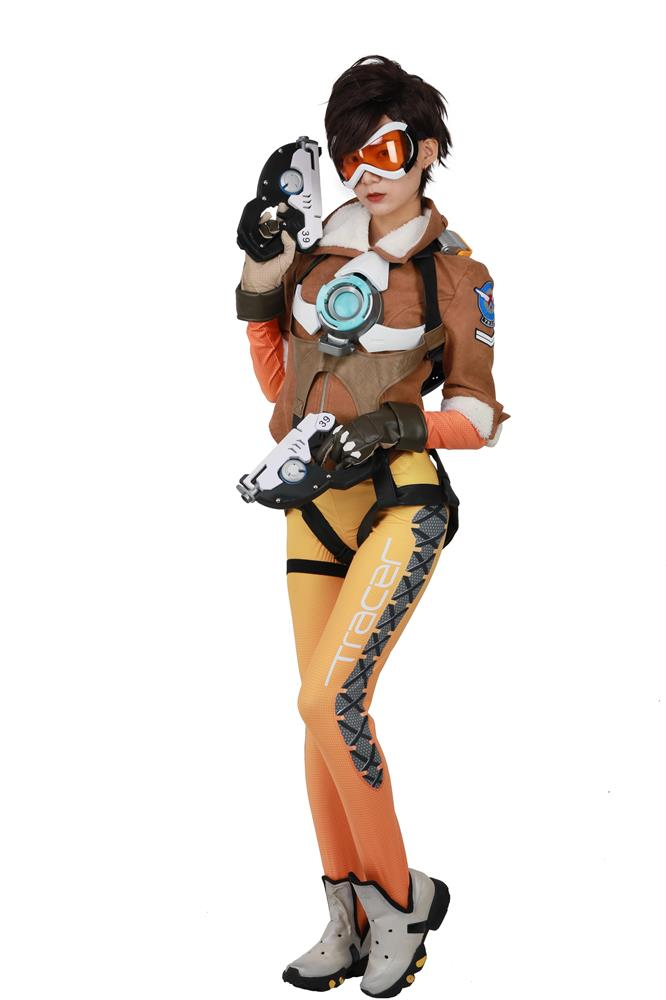 Overwatch Tracer Cosplay Costume Outfits Full Set