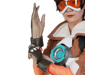 Overwatch Tracer Cosplay Gloves - Halloween Costume Accessories Brown Luxury PU Leather Gloves Game Anime Props