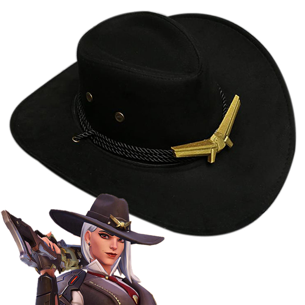 Overwatch Ashe Western Cowboy Hats Gangster Caps Cosplay Costume Accessories Game Anime Props Outdoor Wide Brim with Strap