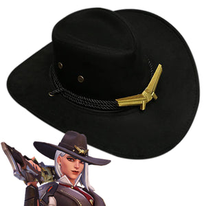 Overwatch Ashe Cosplay Cap Western Cowboy Hats Outdoor Wide Brim with Strap
