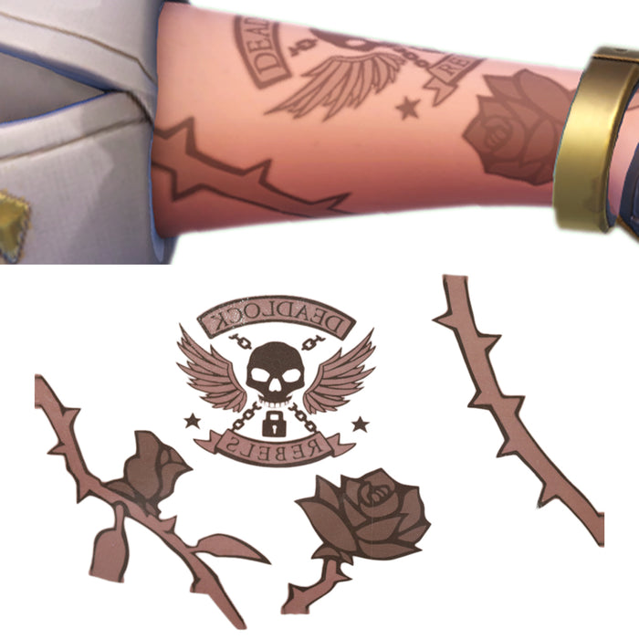 Overwatch Ashe Forearm Tattoos Sticker Cosplay Waterproof Arm Sticker Temporary Paper Paints Cosplay Costume Accessories Props Brown