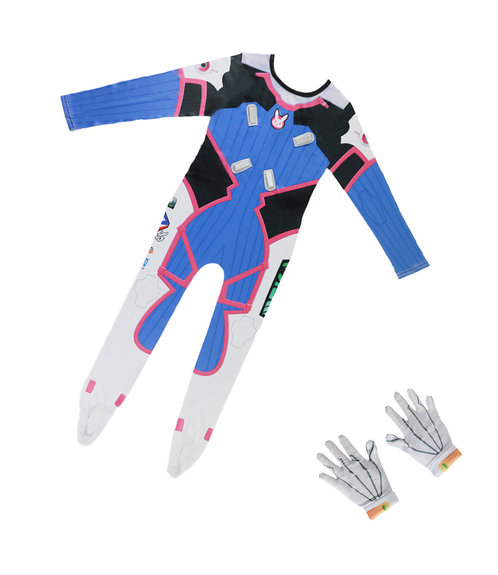 Overwatch Kids Size D.Va Jumpsuit Bunny Girl Cosplay Bodysuit Game Anime Costume Dress-up with Gloves for Kids Pink