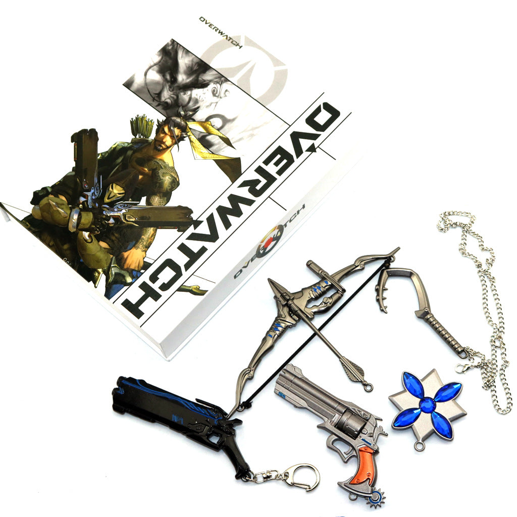 Overwatch McCree/Hanzo/Reaper Weapons Collection Sets Keychain/Necklace/Jewelry Cosplay Accessories Gift box
