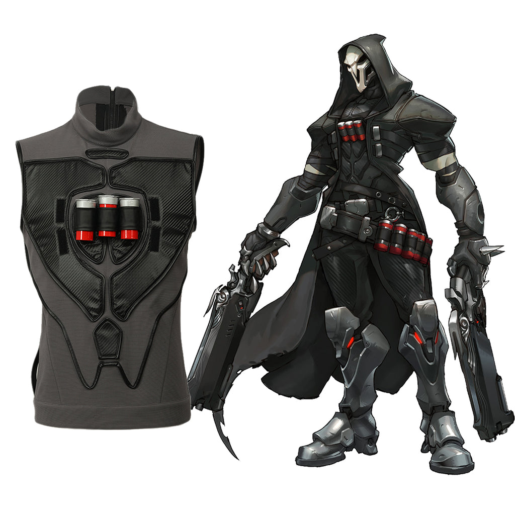 Halloween Reaper Waistcoat Overwatch Deluxe Cosplay Costume Gabriel Reyes Game Anime Vest with Three Bullets