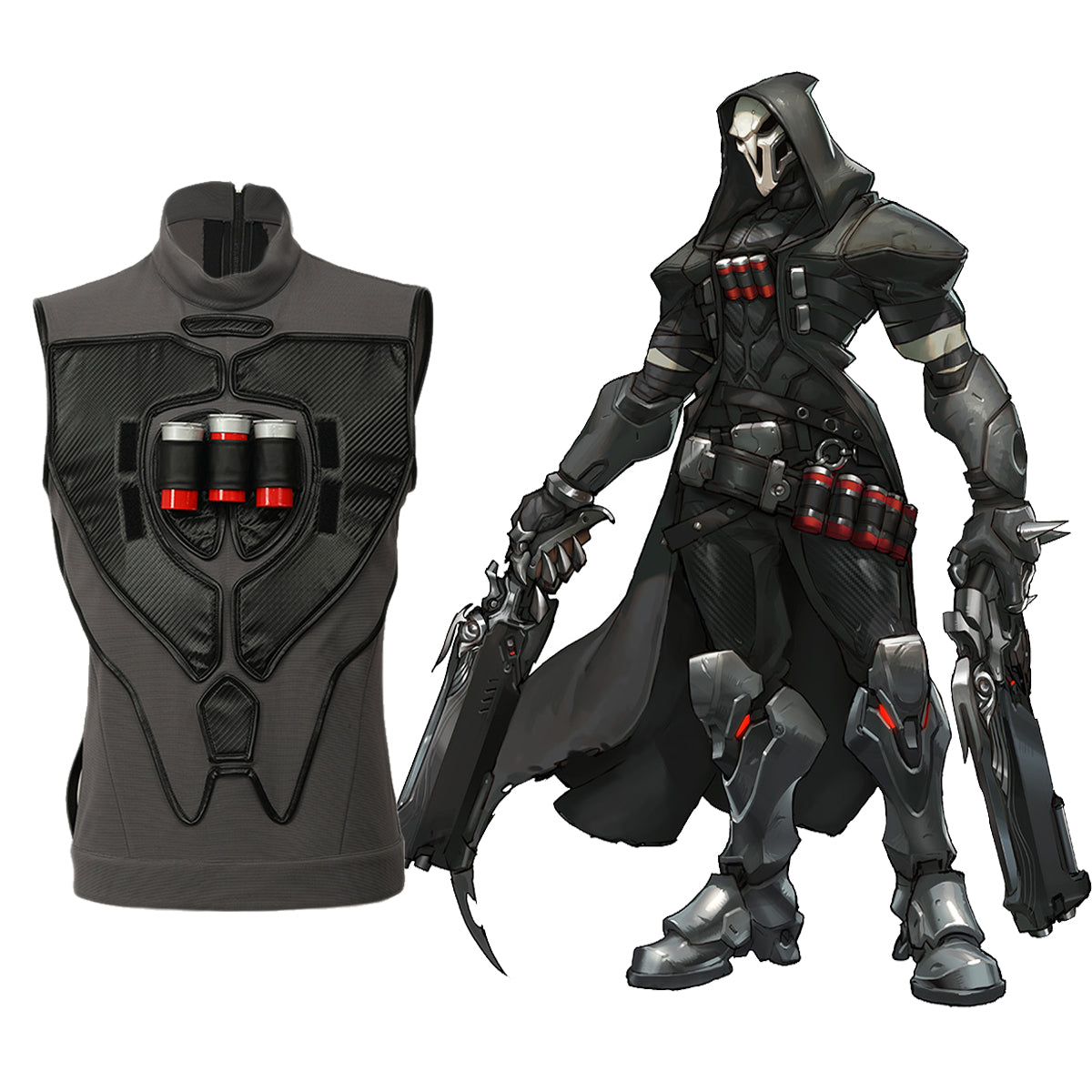 Overwatch Cosplay Costume Accessory Reaper Gabriel Reyes Black Chest Armor V1