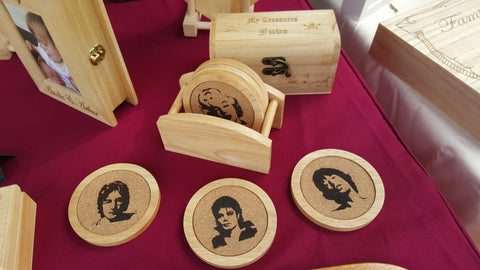 Cork Coasters in a Wooden Holder.