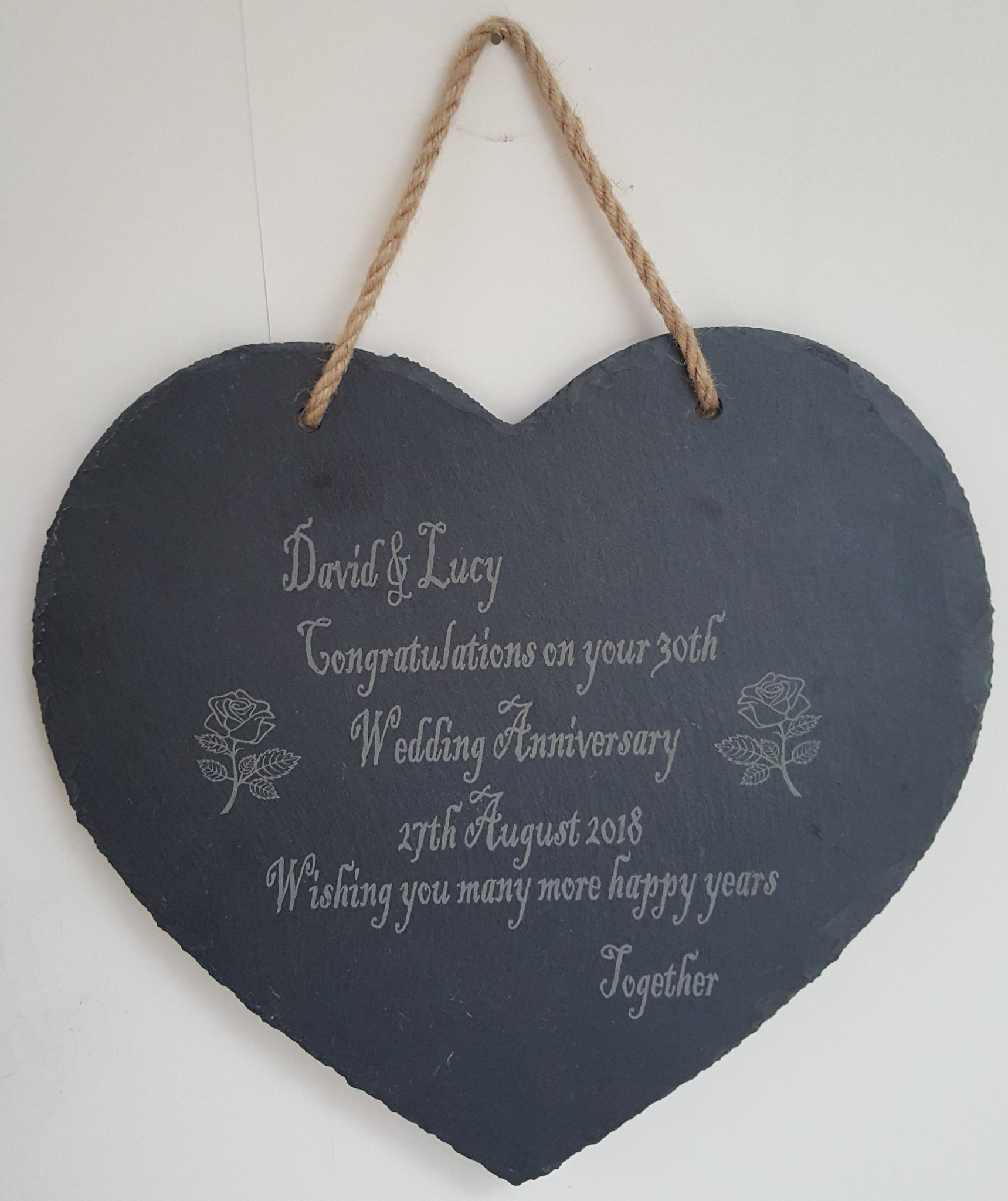 Personalised Heart Shaped Plaque - Slate