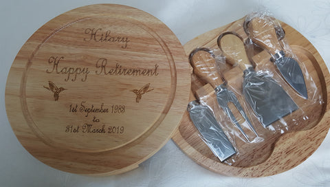 Personalised Cheese Board With Set Of Tools