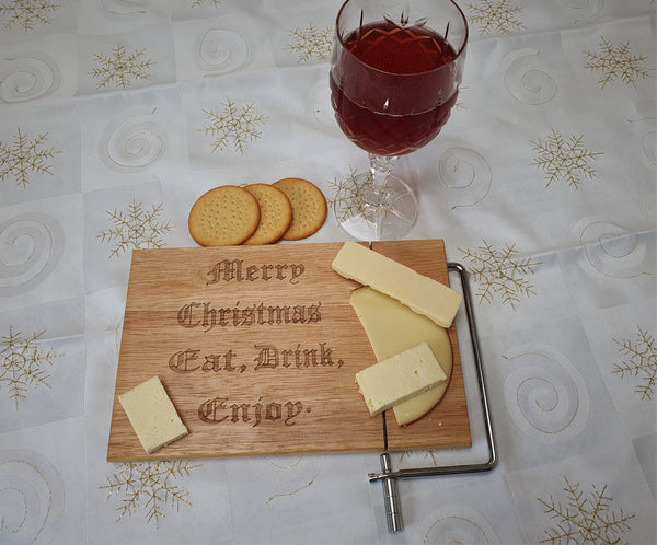 Christmas Cheese Board with Metal Cheese Slice.