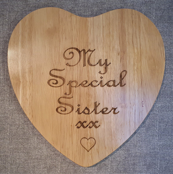 Personalised Heart Shaped Plaque - Wood