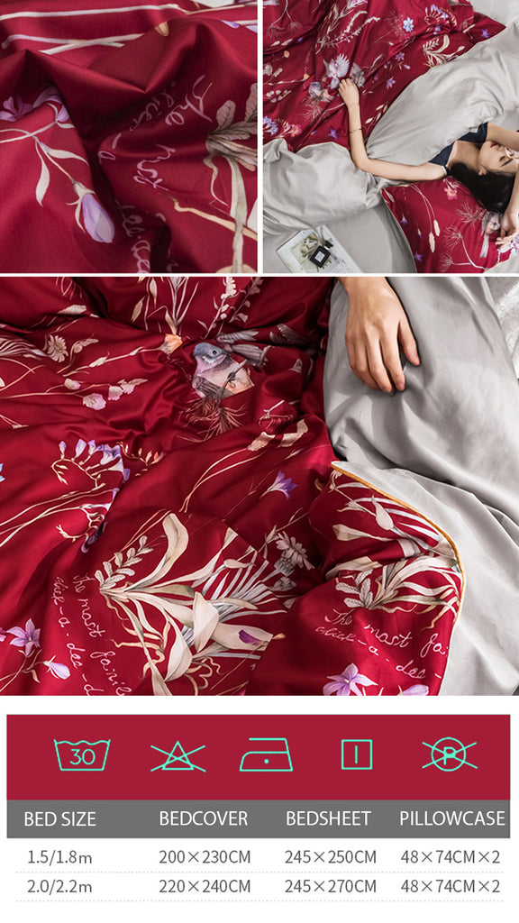 Red Makeup Satin Bedding Set - fourline design