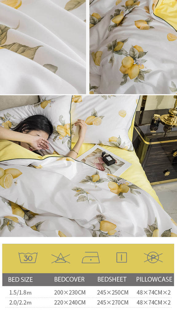 Fresh Lemons Cotton Bedding Set - fourline design