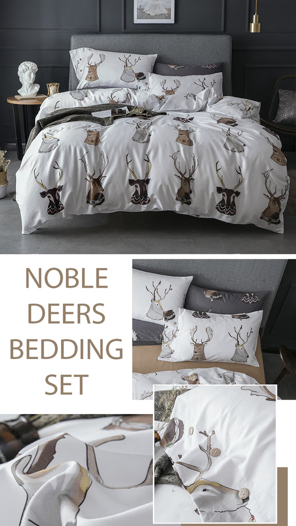 Noble Deers Cotton Bedding Set - fourline design