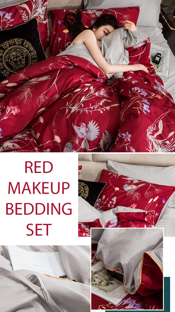 Red Makeup Cotton Bedding Set - fourlinedesign
