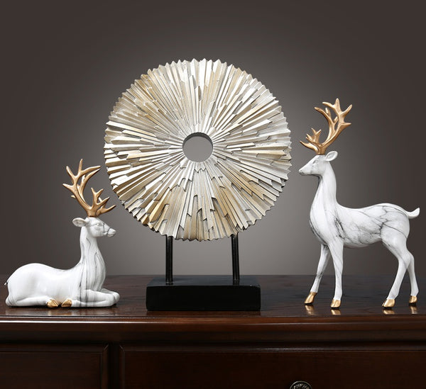 White Elks Set Sculptures - fourlinedesign