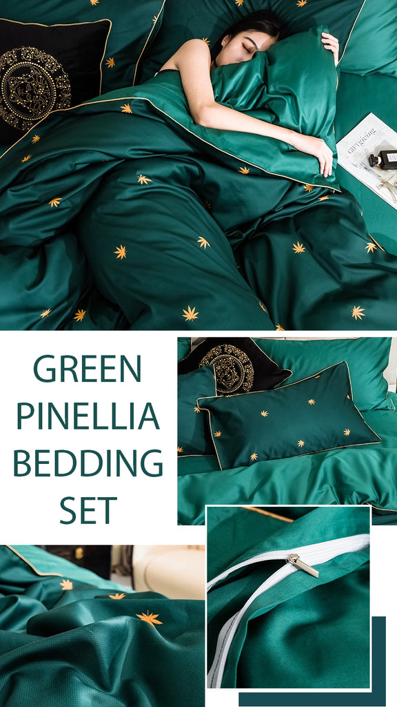 Green Pinellia Cotton Bedding Set - fourlinedesign