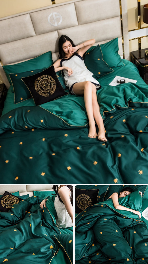 Green Pinellia Cotton Bedding Set - fourline design