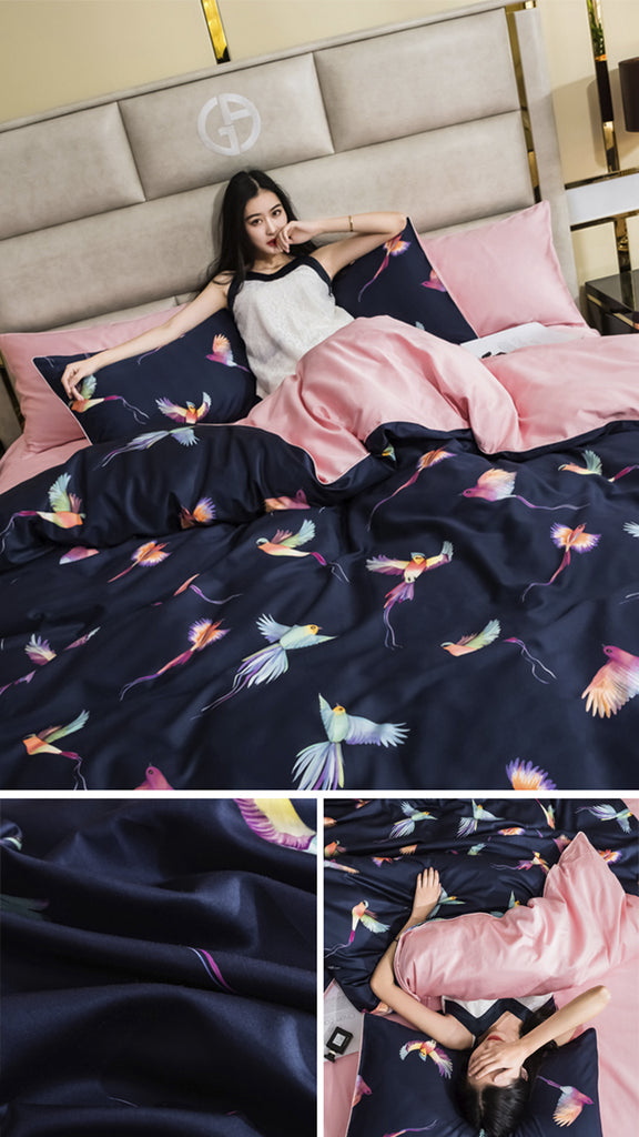 Graceful Birds Cotton Bedding Set - fourline design