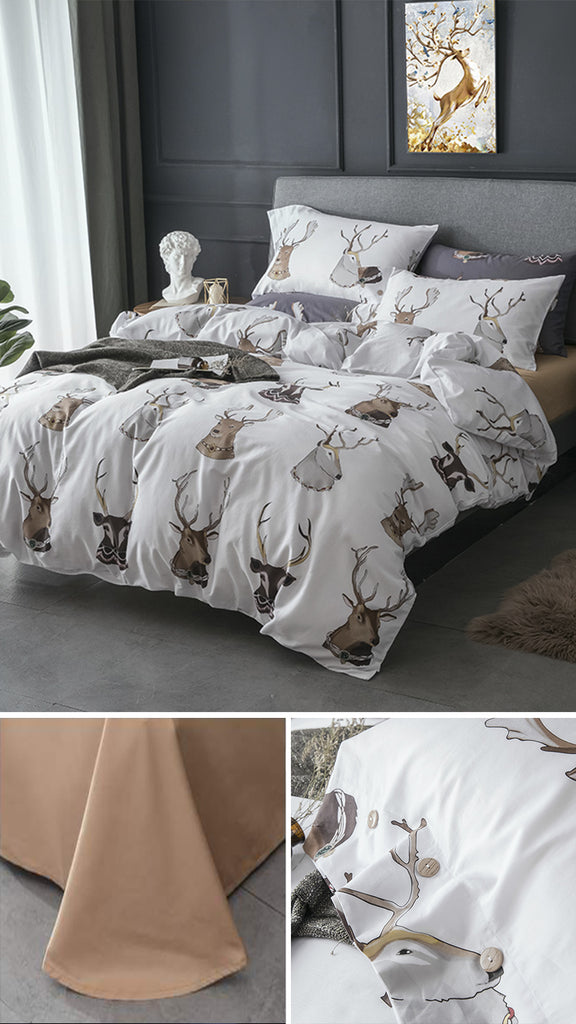 Noble Deers Satin Bedding Set - fourline design