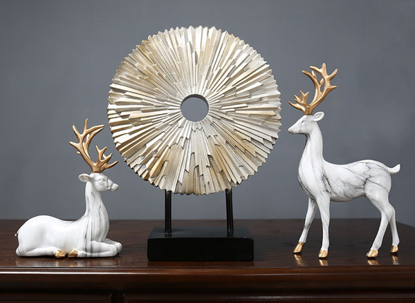White Elks Set Ornaments - fourlinedesign