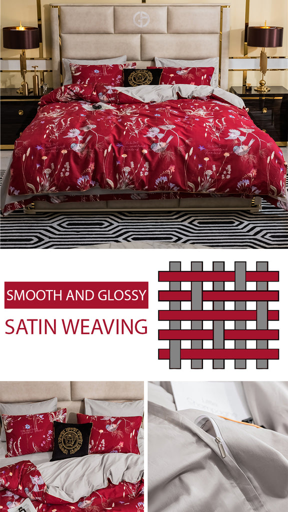 Red Makeup Bedding Set - fourlinedesign