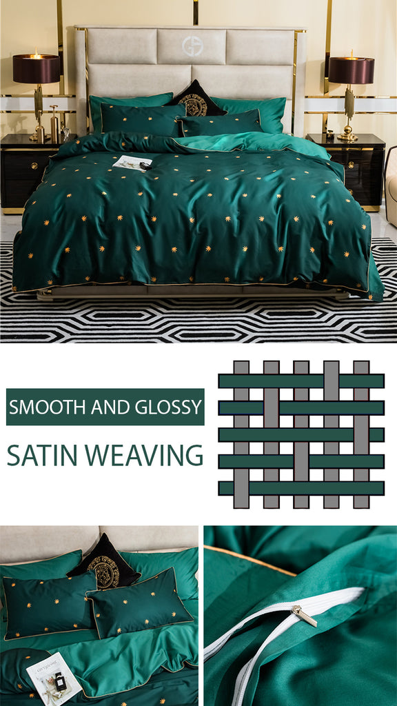 Green Pinellia Bedding Set - fourlinedesign