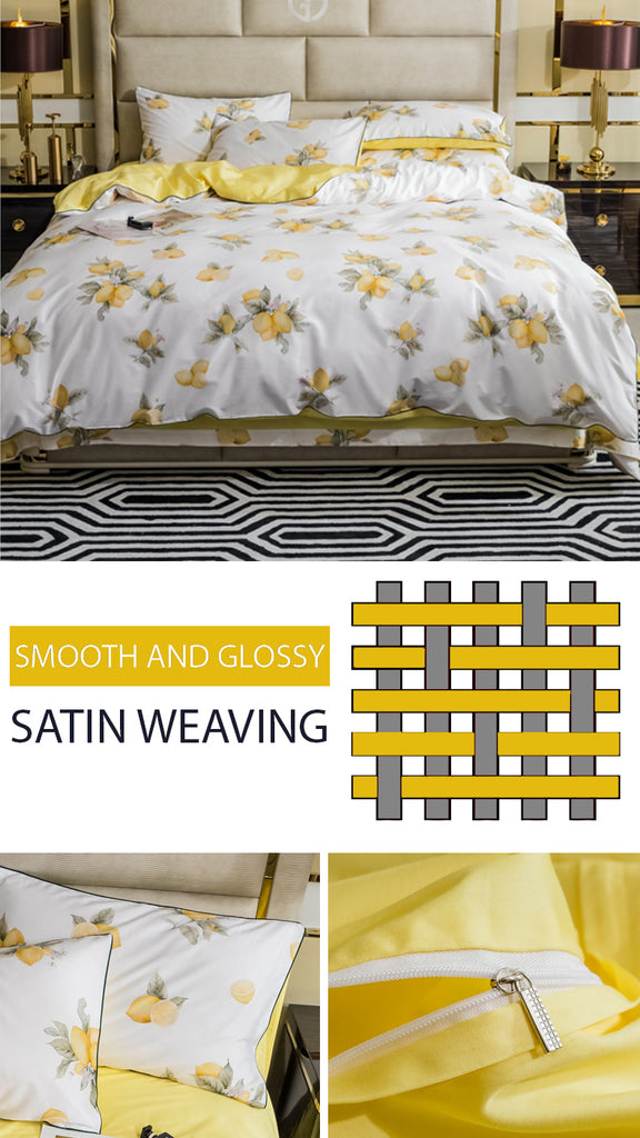 Fresh Lemons Bedding Set Queen Size - fourlinedesign