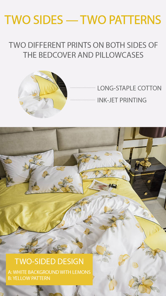 Fresh Lemons Bedding Set King Size - fourline design