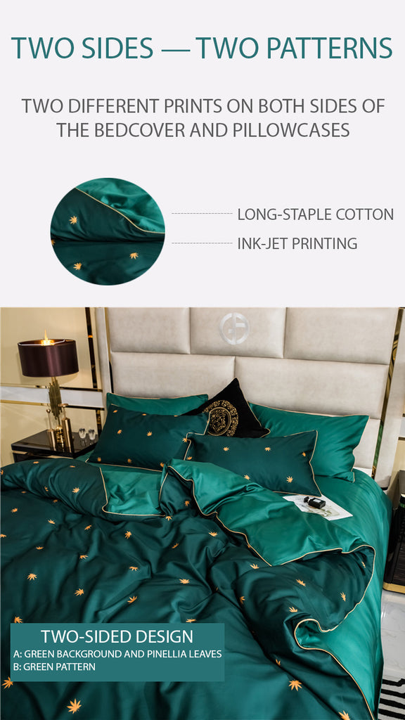 Green Pinellia Bedding Set Queen Size - fourline design