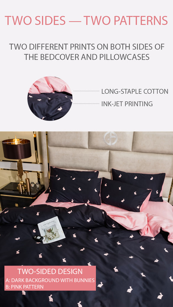 Pink Bunny Bedding Set - fourlinedesign