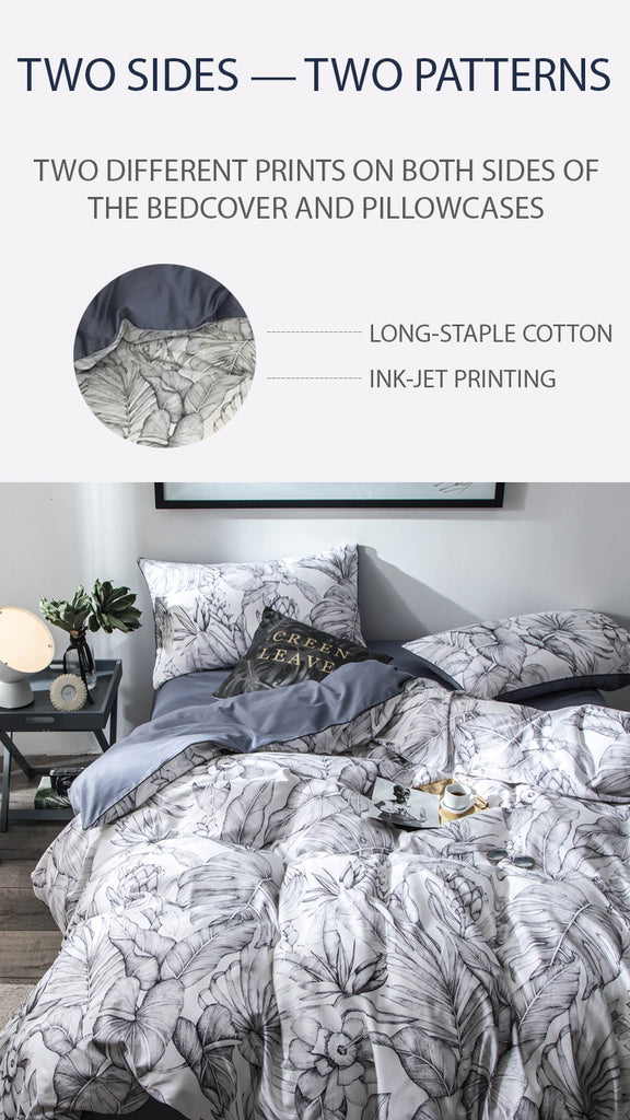 Jungle Ash Cotton Bedding Set - fourline design