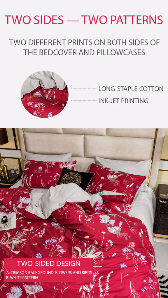 Red Makeup Bedding Set Queen Size - fourline design
