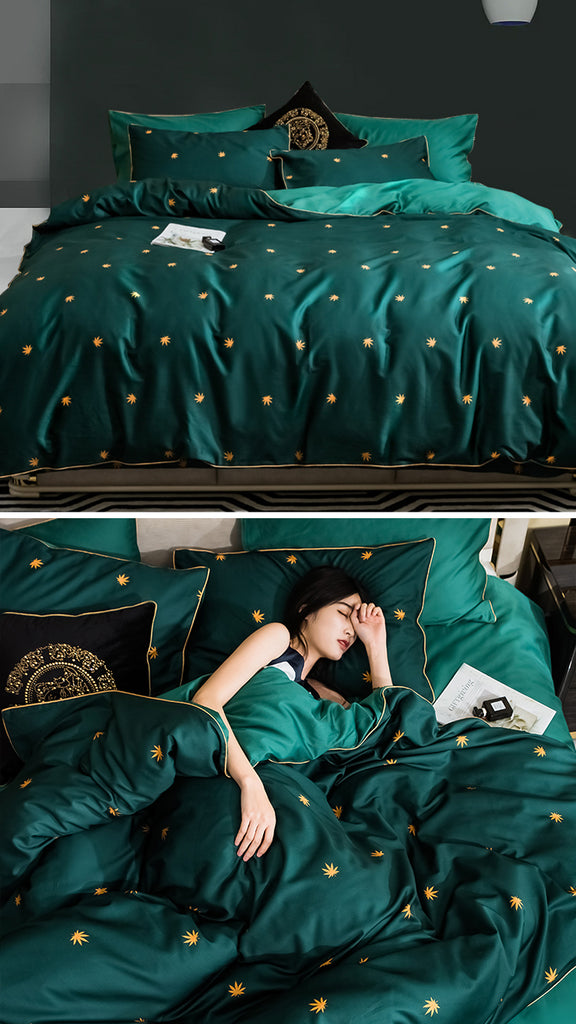 Green Pinellia Bedding Set King Size - fourline design