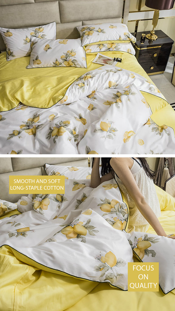 Fresh Lemons Satin Bedding Set - fourline design