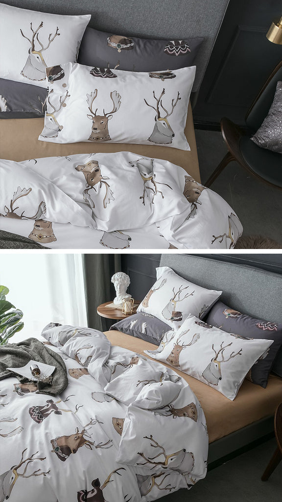Noble Deers Bedding Set Queen Size - fourlinedesign