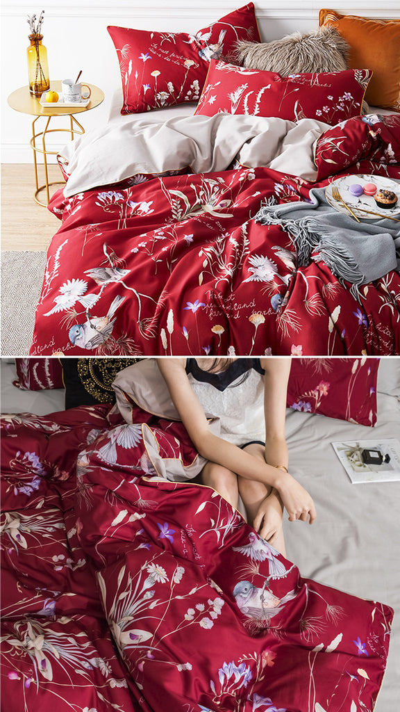 Red Makeup Bedding Set King Size - fourline design