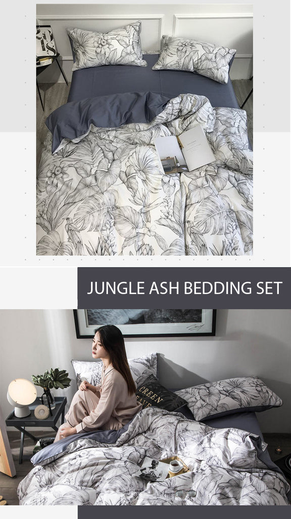 Jungle Ash Bedding Set Queen Size - fourlinedesign
