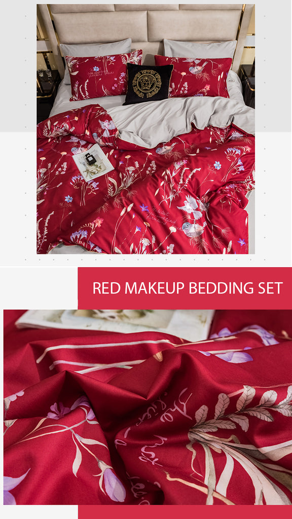 Red Makeup Satin Bedding Set - fourlinedesign