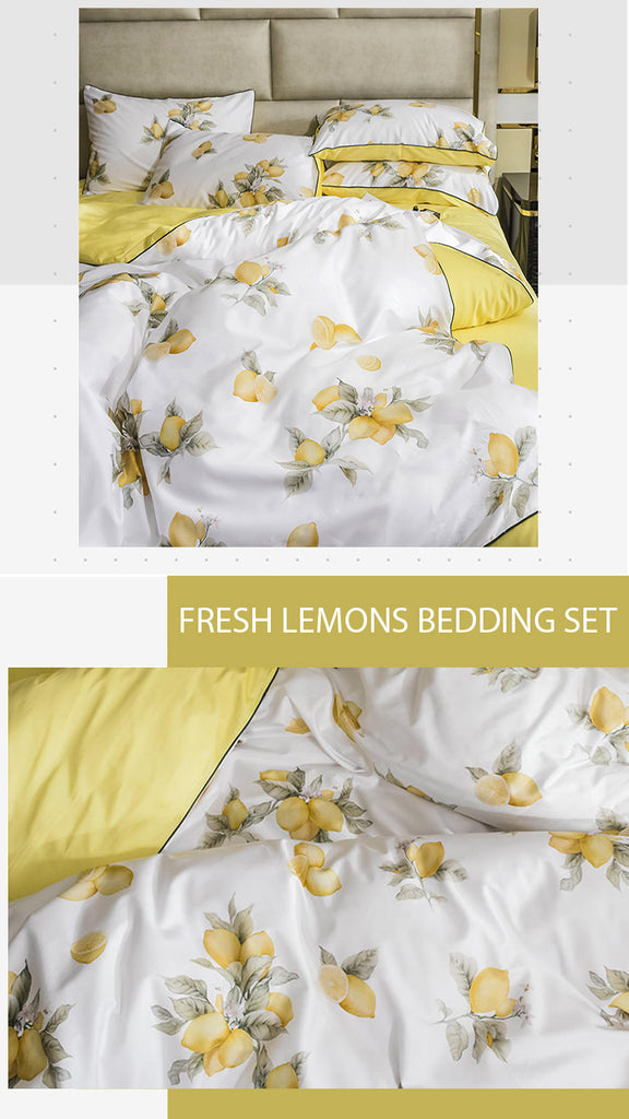 Fresh Lemons Cotton Bedding Set - fourlinedesign