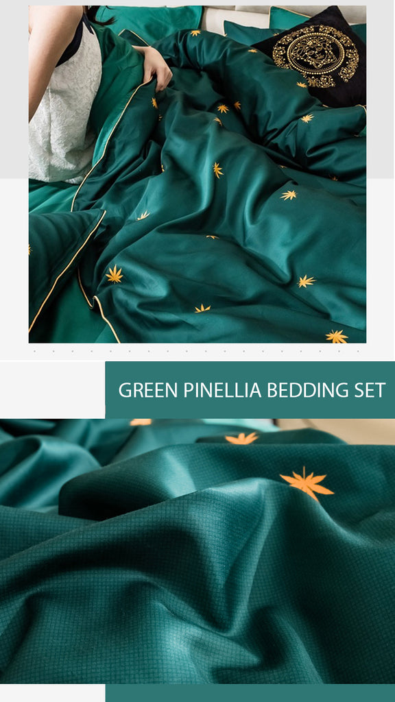 Green Pinellia Satin Bedding Set - fourlinedesign