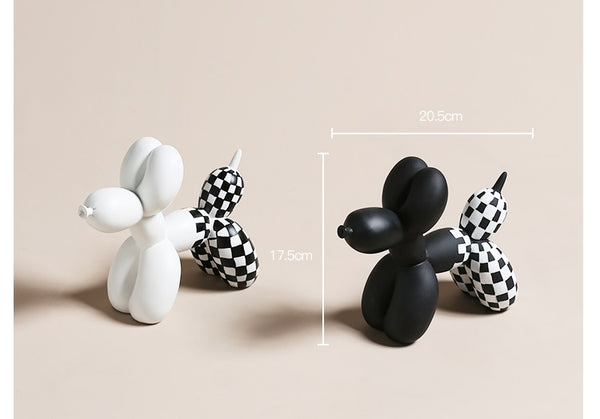 Checkered Balloon Dogs Home Accents - fourlinedesign