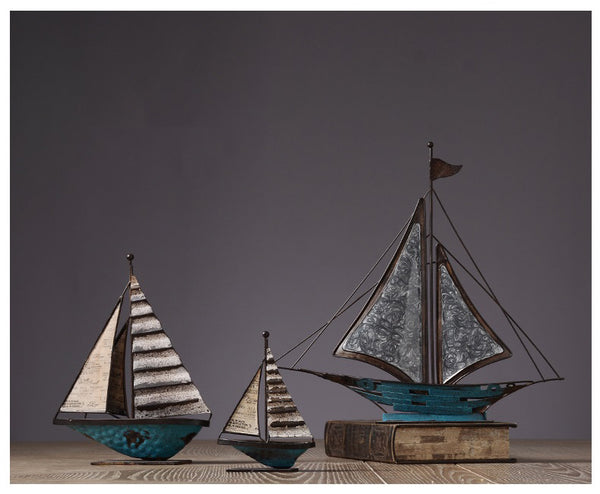 Metal Sailing Ships Home Decor - fourlinedesign